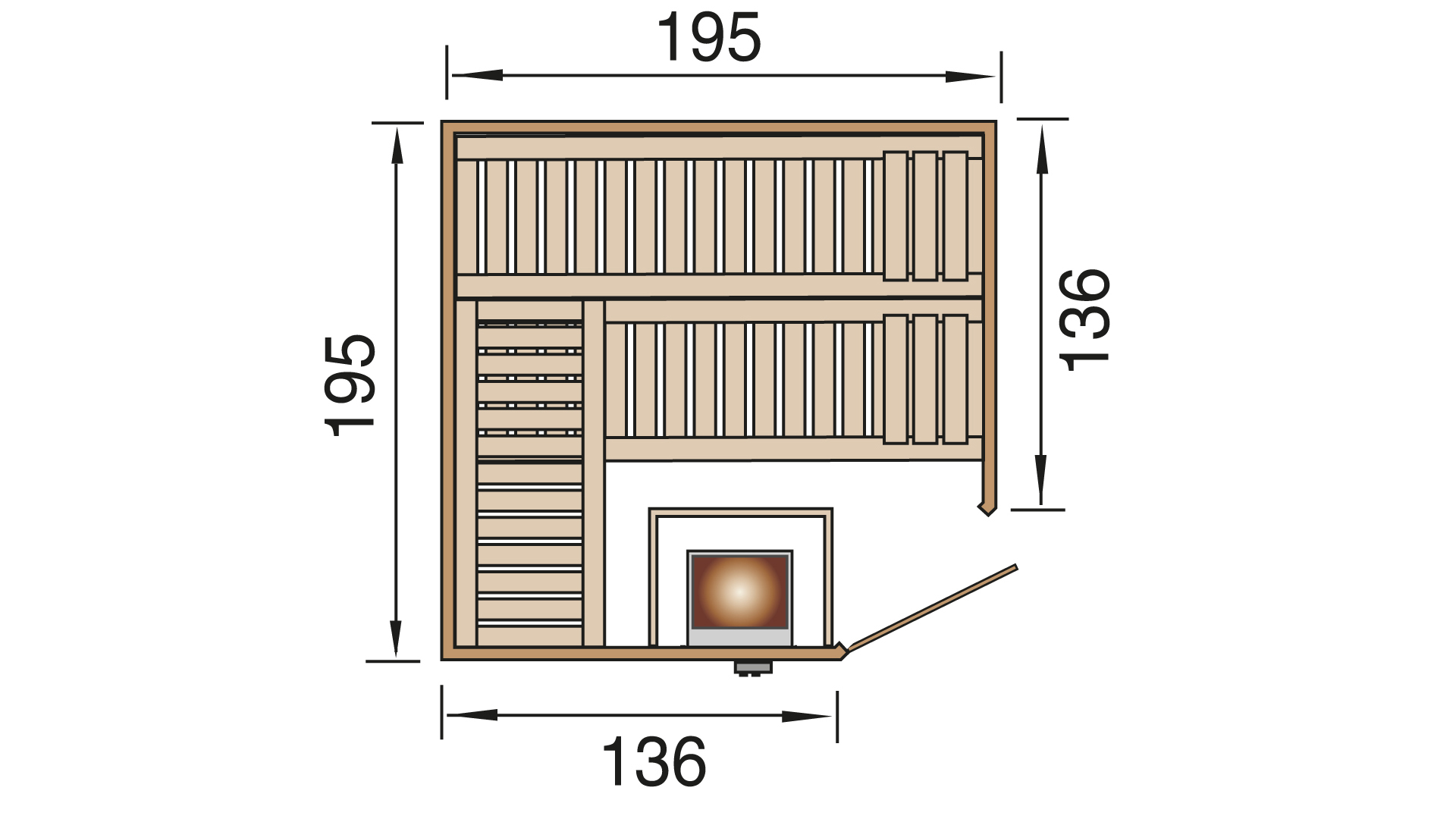 Massivholz-Elementsauna Finnmark 9 inkl. 9,0 KW Kompaktofen