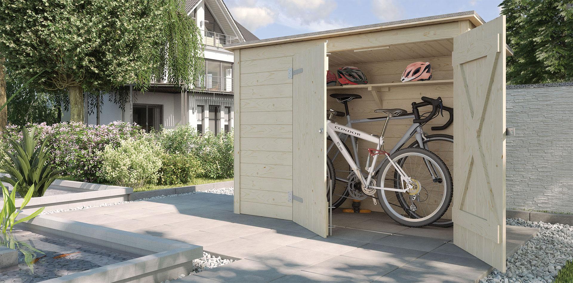 Fahrradgarage aus Holz von WEKA mit Ablage für Fahrradhelme
