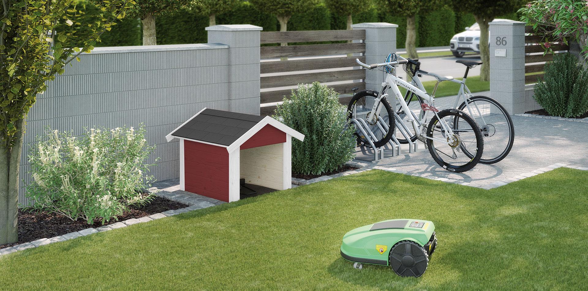 Mähroboter Garage in Rot zum geschützten Parken des Mähroboters