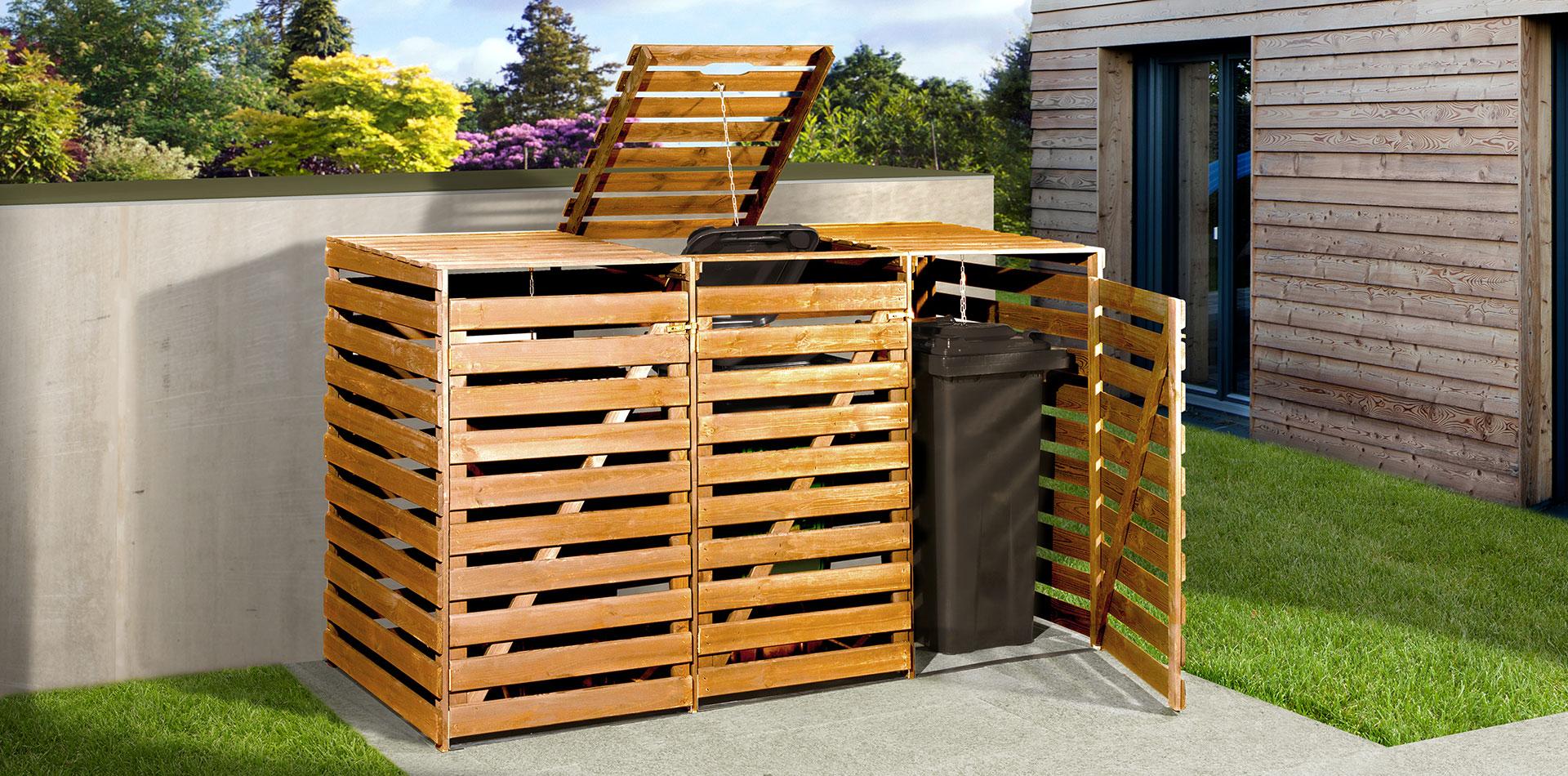 Mülltonnenbox aus Holz mit praktischer Tür und Klappe