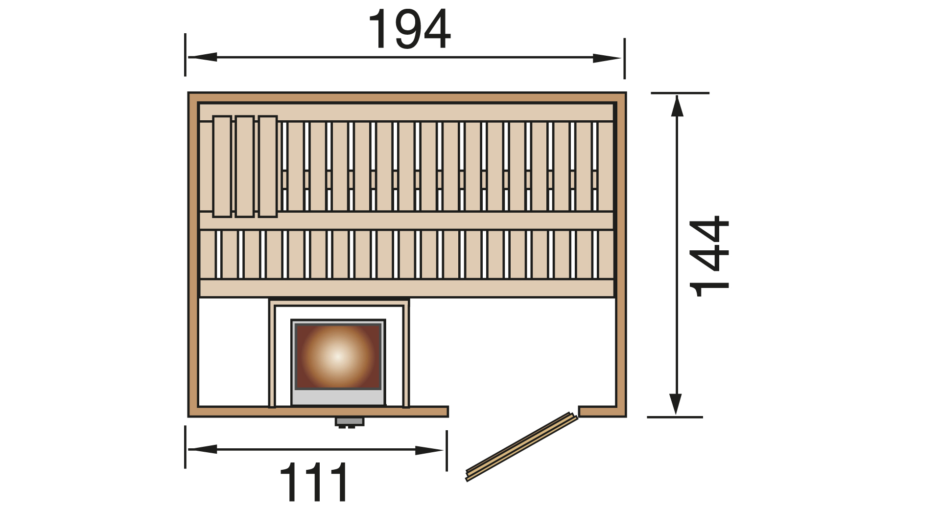 Elementsauna Oslo 4 exkl. OS7,5