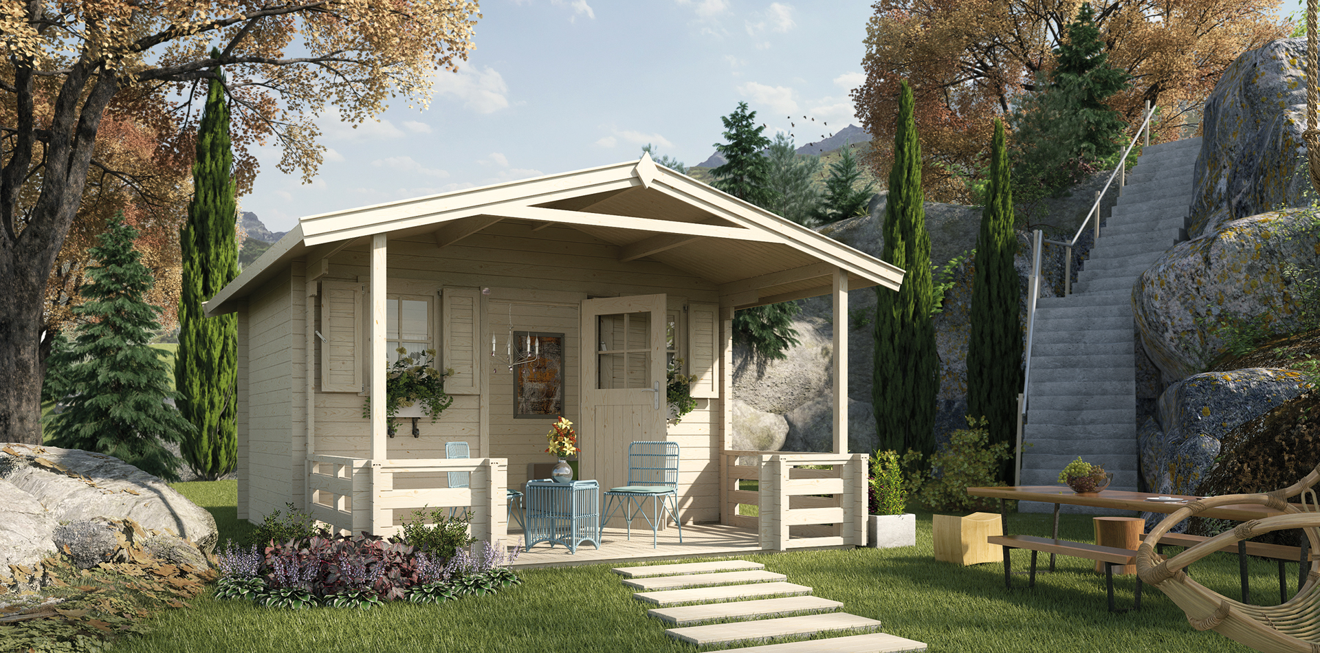 WEKA Gartenhaus mit extrahoher Tür und mehr Raumvolumen