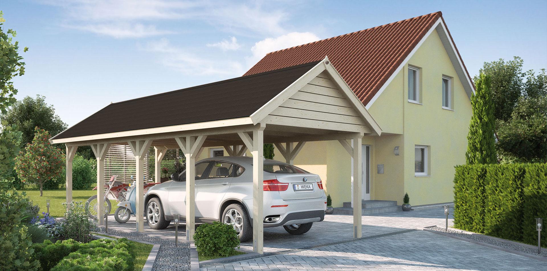 Der Einzelcarport aus Leimholz ist eine platzsparende Alternative zur Garage.