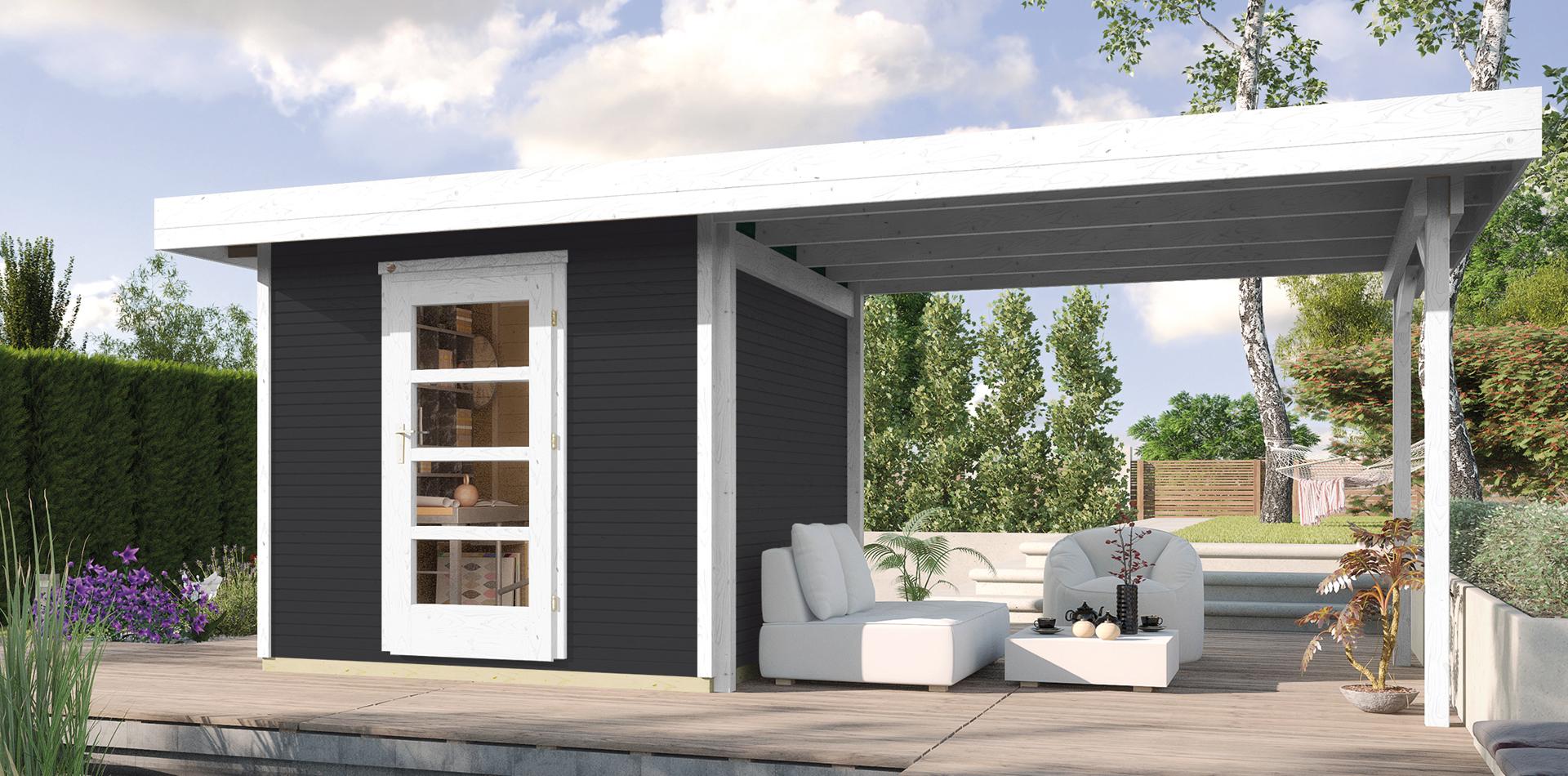 Design Gartenhaus von WEKA mit schöner Sitzecke im modernen Garten