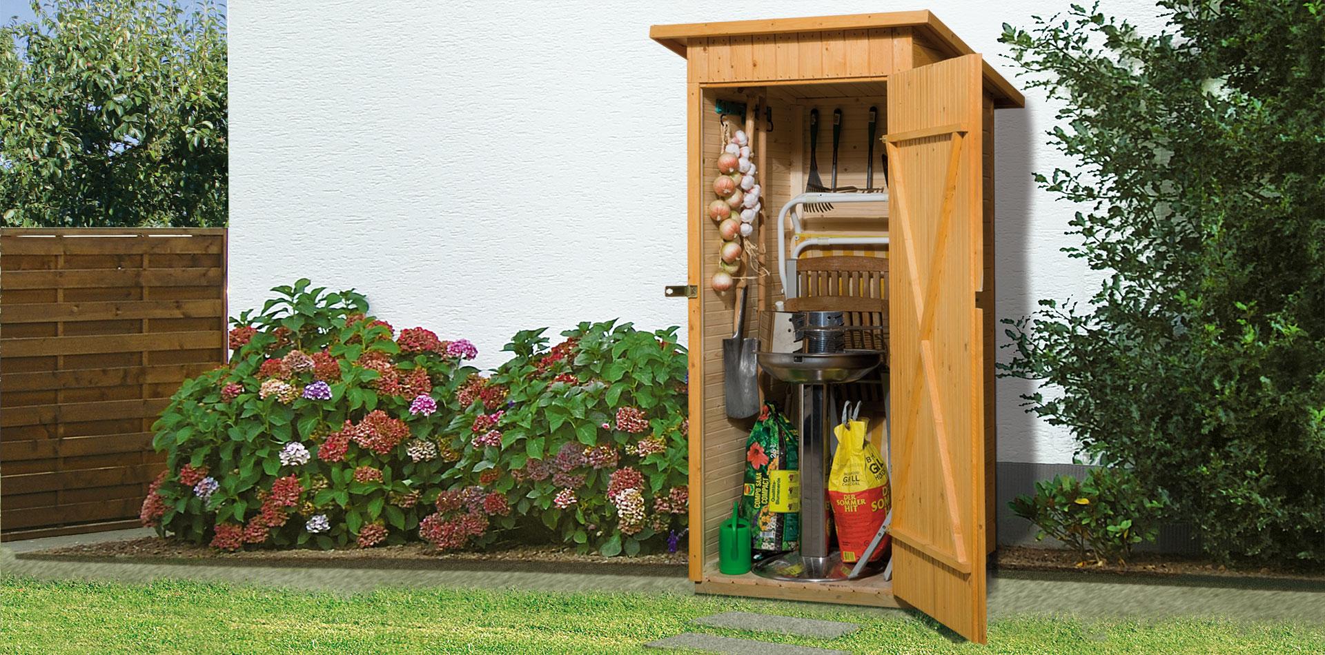 Gartenschrank aus Holz mit kleinem Stauraum von WEKA