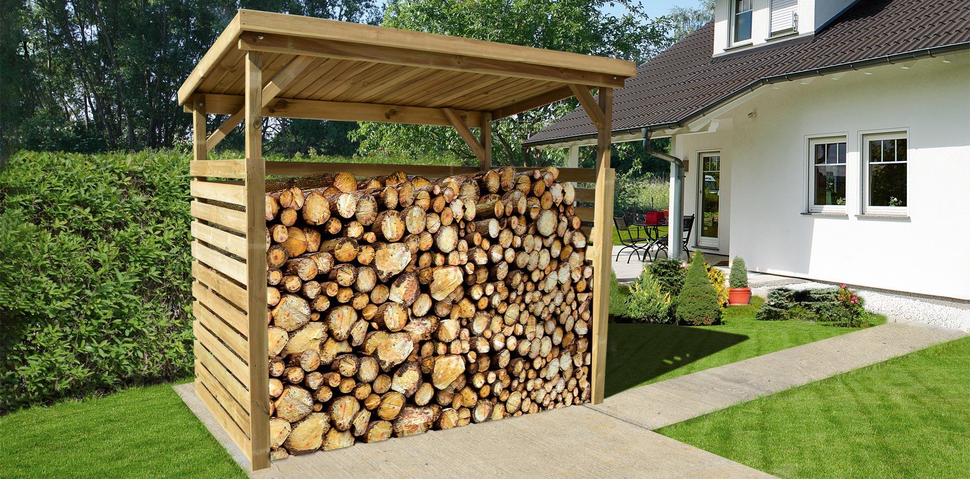 Holzunterstand für Brennholz von WEKA, der frei aufstellbar ist